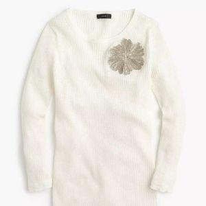 J.Crew linen-blend sweater  w/ sequin flower
